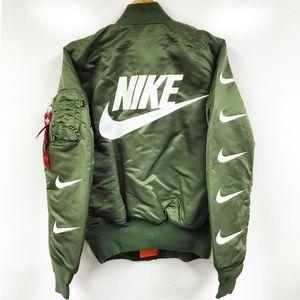 Nike x alpha industries swoosh bomber jacket NWT